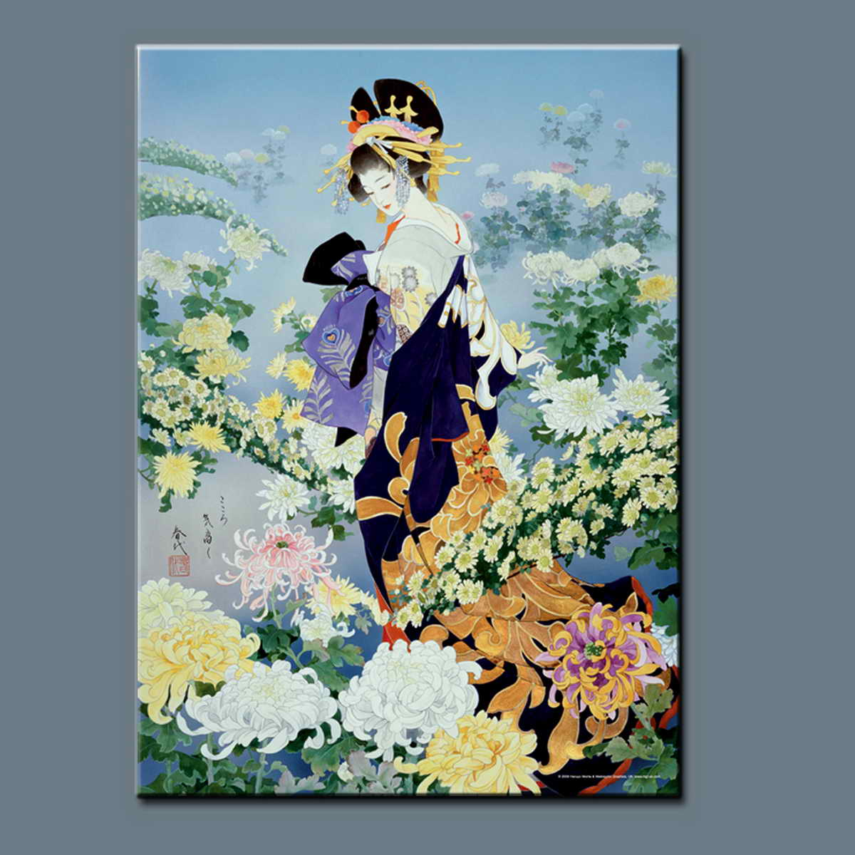 Chinese Style Painting Beautiful Girl Oil Painting Canvas Wall Art Design