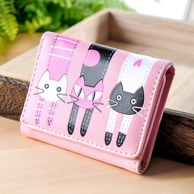 Women Wallets Lovely Purse  Cats Print 3 Fold Leather Wallet Mini Card Holder Purse Girls Zipper Multiple Id Cards New Brand