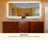 Luxury European style bathroom mirror with light LED square toilet mirror frameless bathroom wall mirror Antifog waterproof