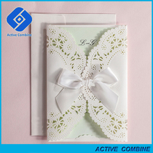 High Quality Pocket Laser Cut Wedding Invitations with Ribbon Bowknot