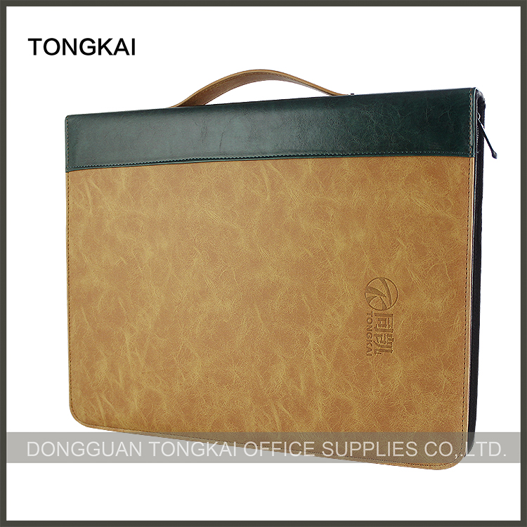 Leather Padfolio/ Resume Portfolio with Handle File Folder