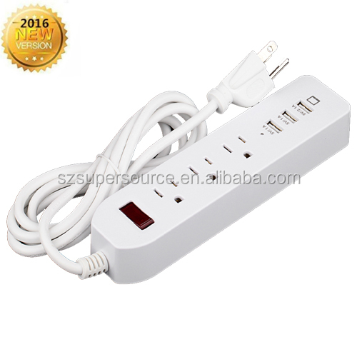 2016 Hot 3 outlet 3 usb surge protector power strip high speed charging socket