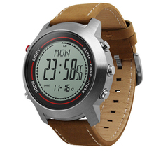 SKMEI hiking barometer weather leather band digital altimeter watch with compass