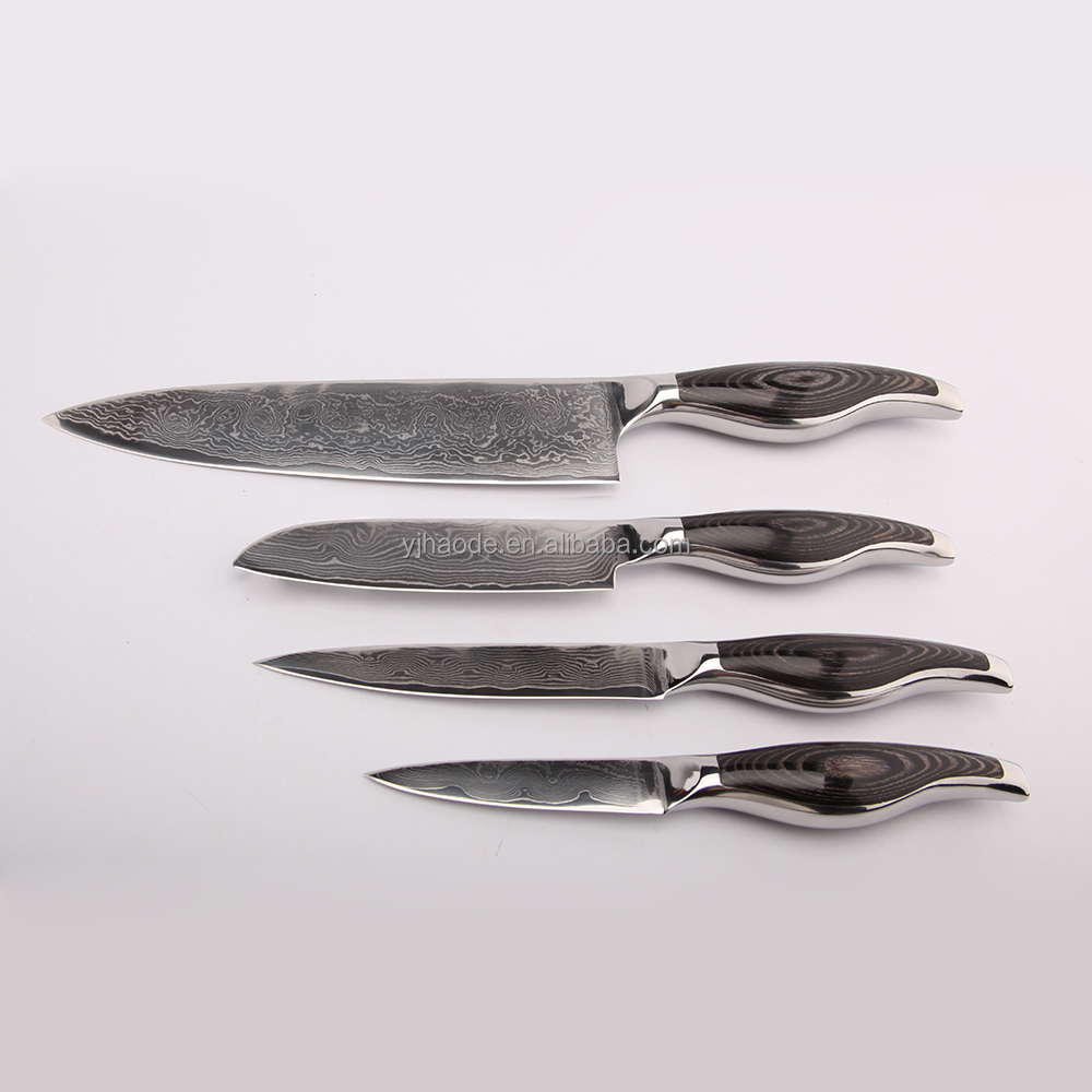 Hot selling 4pcs damascus knife set with wood stainless steel handle vg10 blade cooking tools
