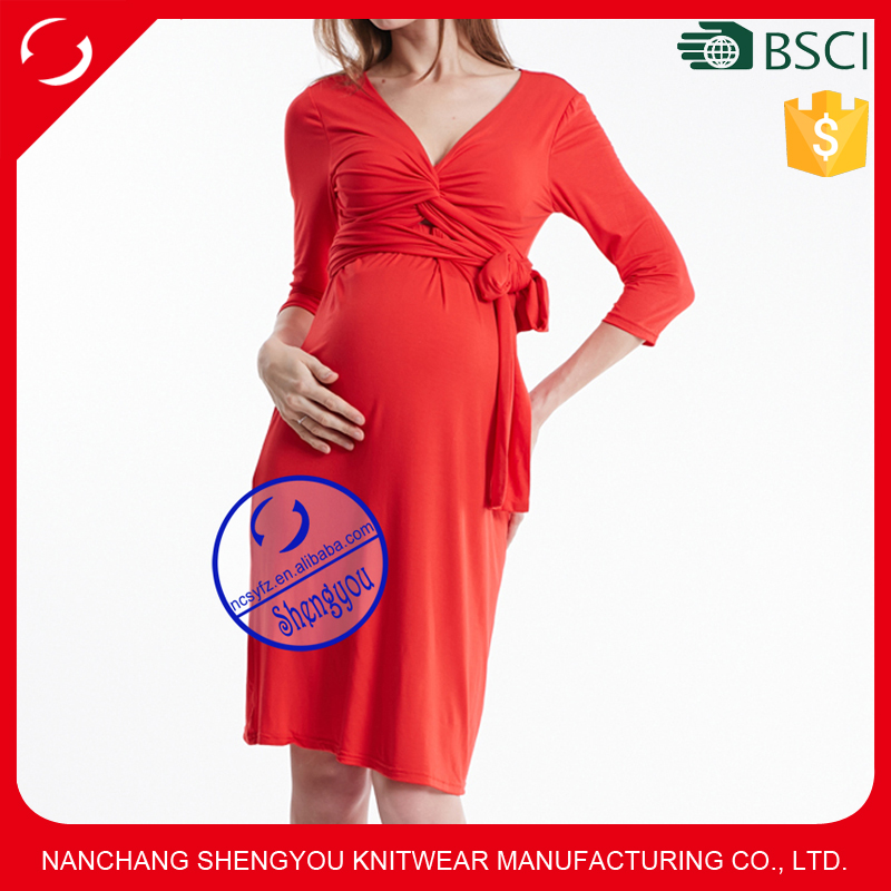 Fashion Short Sleeve Maternity Office Dress for Pregnant Women