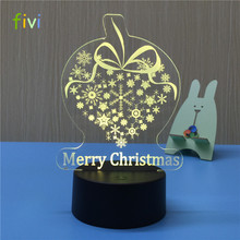 Snowflake creative touch switch 3D LED night light 7 color changing novelty illusion Light
