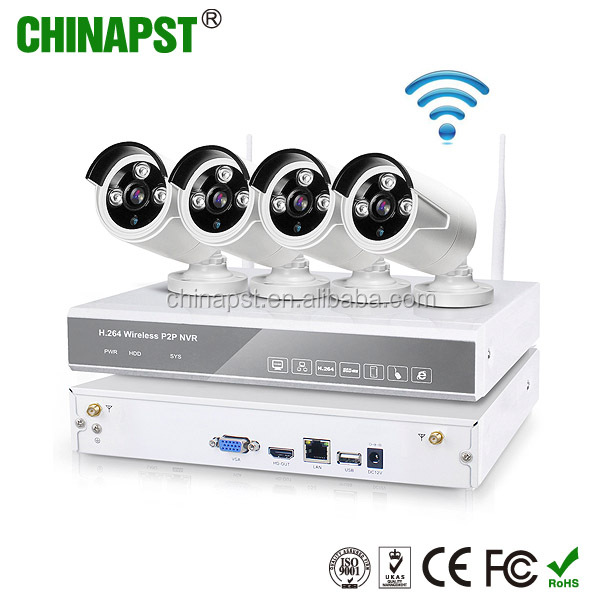 New Arrival H.264 NVR Kit Home Surveillance Outdoor Waterproof IP66 Wireless Security Network Wifi IP Camera PST-WIPK04BL