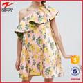 Jacquard Ruffle One Shoulder Floral print Trapeze party Mini names of ladies dresses for women
