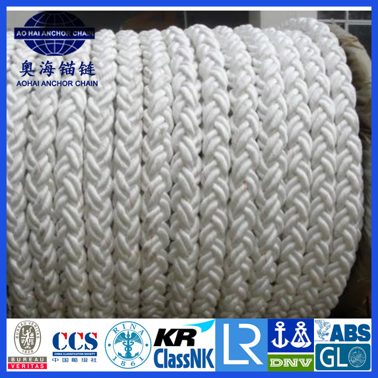 Double-layer multi-strand raided polyamide mooring rope