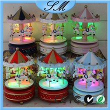 Gift wooden toy carousel music box with LED light