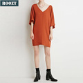 Stylish Ladies Half Sleeve Casual Loose Deep V Neck Dress Fashion Design