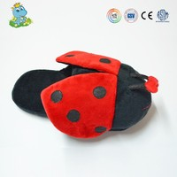 Promotional warm plush ladybug sharped indoor slippers for kids