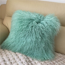 Long shape Real mongolian lamb fur bed throw for sale