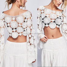 Hotsale new fahion customized top quality wide knit crochet top vintage-inspired long sleeves 100% cotton top