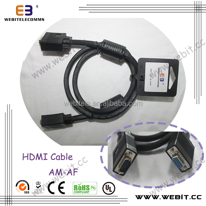 High Quality HD15 VGA Cable Male to Female Gold Plate VGA Cable with 2 Ferrites