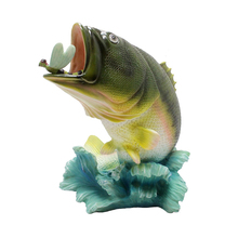 "13"" Tall Fish eat dragonflies Figurine Statue Fishing or Cabin and Lodge Decor Sculpture"