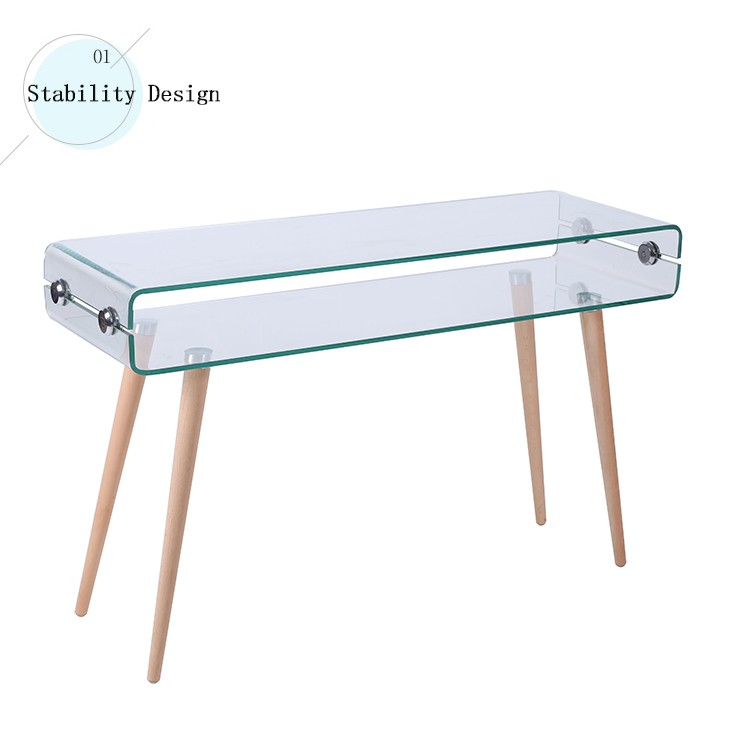 my text new modern design rectangle bent glass wood leg console table