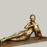 High quality nude girl with a dog statue on sale