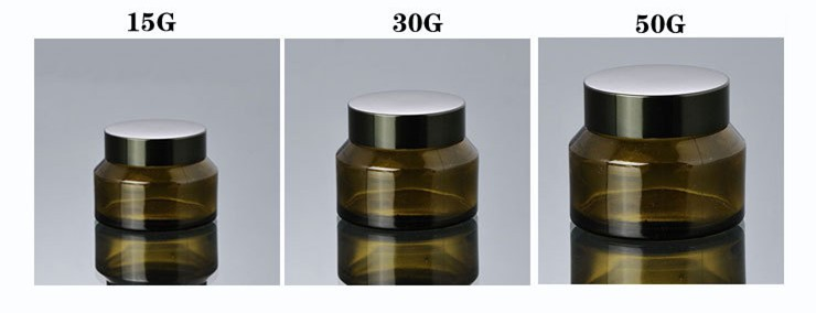 30g Tea Color Glass Jar for Face Cream with Black Cap and Gasket for Cream Filling Use