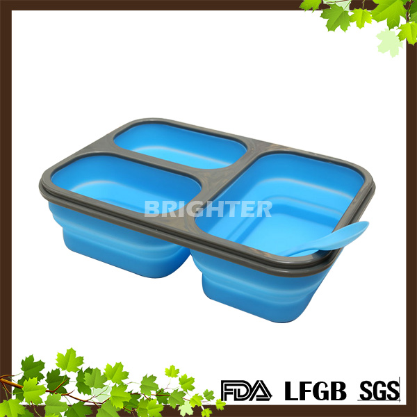 3 Compartment Silicone Collapsible Lunch Box With High Quality