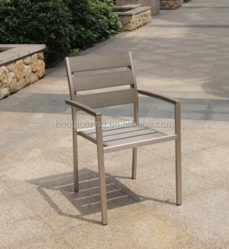 New arrival Brushed aluminum plastic wood outdoor furniture/ polywood furniture dining set