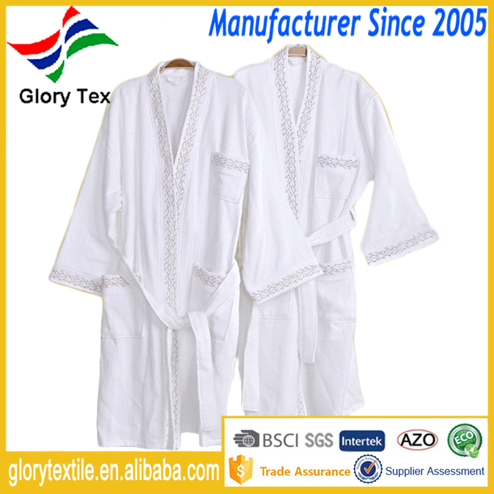 100 Cotton Hotel Bathrobe Men Women Sleep Wear Embroidery Design