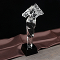 horse shape crystal award trophy with stand and black base