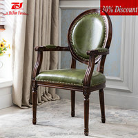 Cheap arm chair wood armchair for sale PU leather arm dining chair for resturant solid antique french style dining chair