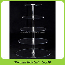 Hot seller 5 Layer Tier Crystal Acrylic Round Cupcake Display Stand For Wedding Party Christmas Cake Display Rack