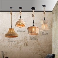 DIY Home Lights Instant Indoor Pendant Light Fixtures with Modern rope Cage Shade Cover