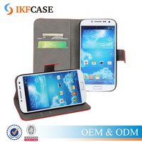 Superior Quality Genuine Leather Wallet Card Holder Flip Stand Mobile Case for Samsung Galaxy S4