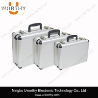 high quality low price wholesale easy carrying vanity silvery aluminum jewelry case