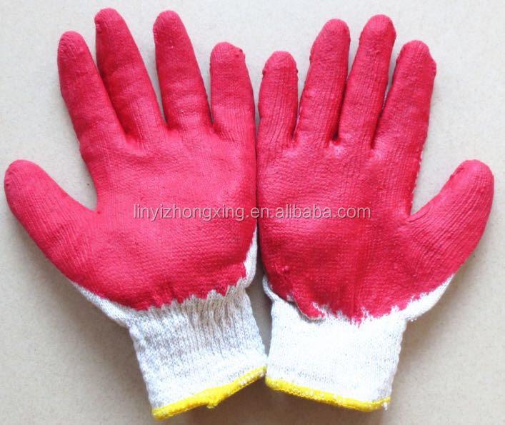 cheap natural white latex coated cotton knitted safety gloves