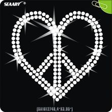 peace sign crystal heart rhinestone iron on transfers design