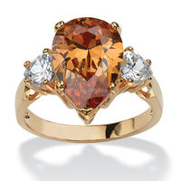 Pear Cut Champagne Cubic Zirconia Ring in 18k Gold Plated Color for women wedding band ring