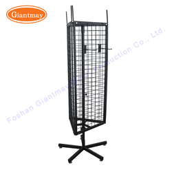 Manufacturer 360 degree rotating metal wire triangle spinner rack display 3 sided with wheels