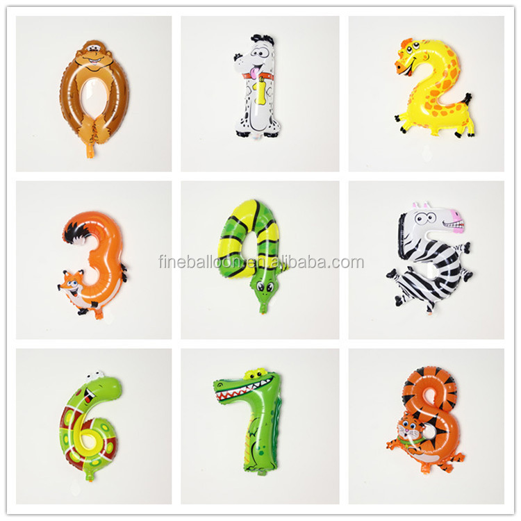 Factory wholesale cartoon animal shape number helium foil balloons