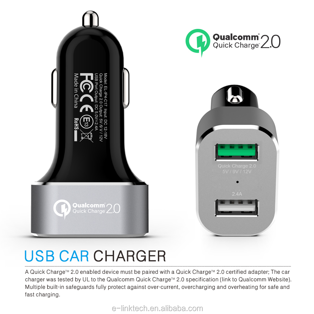 ifans new designed Aluminium Alloy serie 2 USB Car charger with controller IC and quick charge 2.0 for Apple and Sansung Series