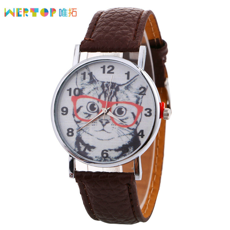 2017 Hot Sale Watches Cheap Leather Cat Face Quatz Watches For Ladies