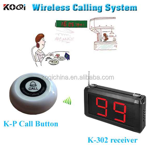 433.92mhz Single-key buzzer K-P Digital Paging Button System