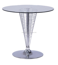 famous desgin manufacturer best price dining table with glass and chromed feets