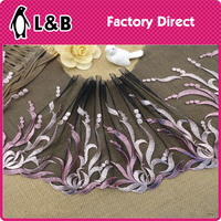 high quality new design black embroidery lace fabric sewing wedding trim