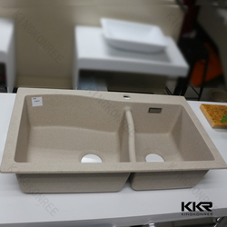 Undermount Double Bowl Granite Quartz Stone Kitchen Sink