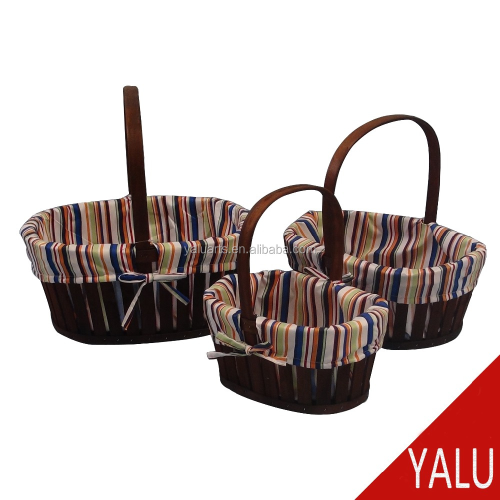 Dryer woodchip flower basket wedding & gift & fruit & card basket for christmas & garden decoration H-16102