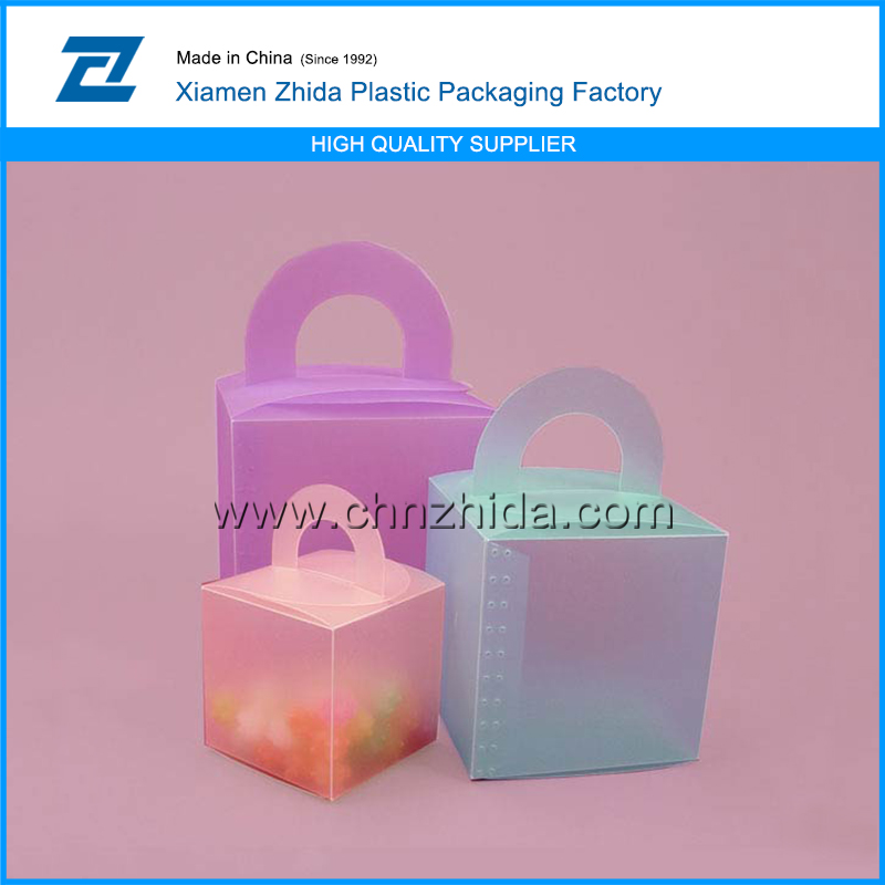 plastic box many circle handle colored frosted plastic boxes, packaging box for souvenir