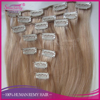 Top quality 120g 160g 220g 260g russian real hair extensions clip in light ash blonde double layer clip in hair extensions