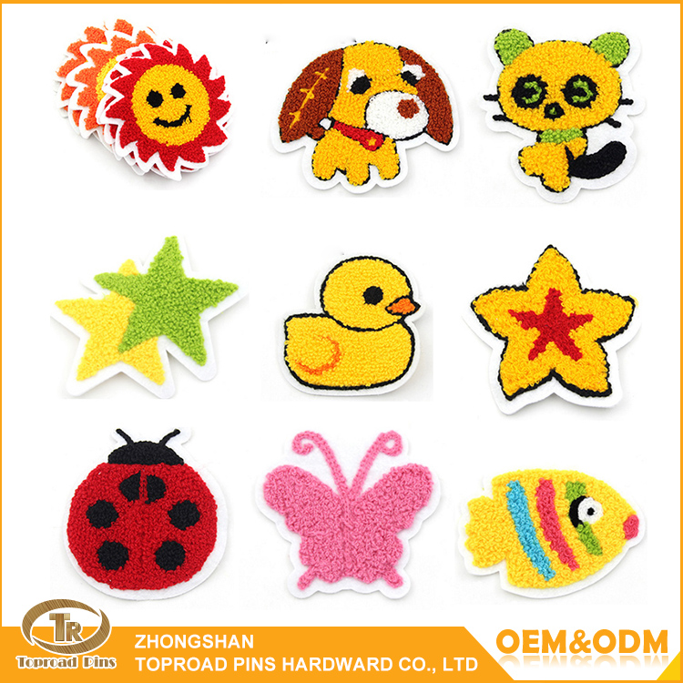 Fashion cute shaped chenille patches custom garment fabric embroidery patch for clothing /towel