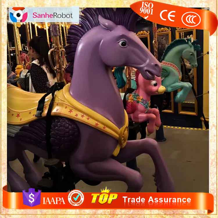 Amusement park Fiberglass musical coin operated carousel horses rides sale