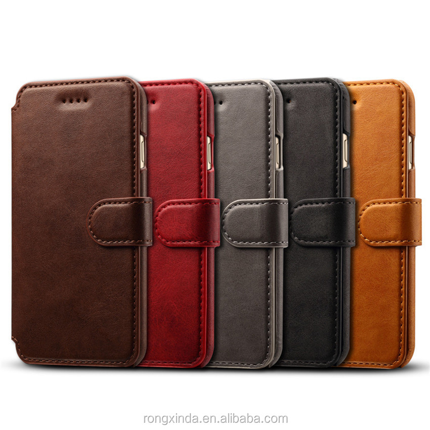 free sample mobile phone genuine cowhide leather flip wallet phone case for iphone 7 for iphone 6 for iphone covers