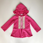 rose color little girl's wear hoodie lace ruffle coat baby clothes wholesale